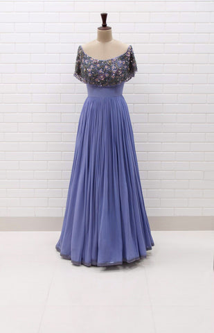 DONNA : Off shoulder pleated gown with Floral Sequins and Beads embroidered flaired collar