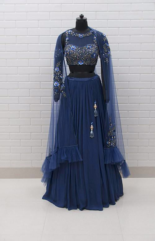 VALENTINA : Cold shoulder blouse with floral sequins and beads embroidery, dupatta & pleated lehenga