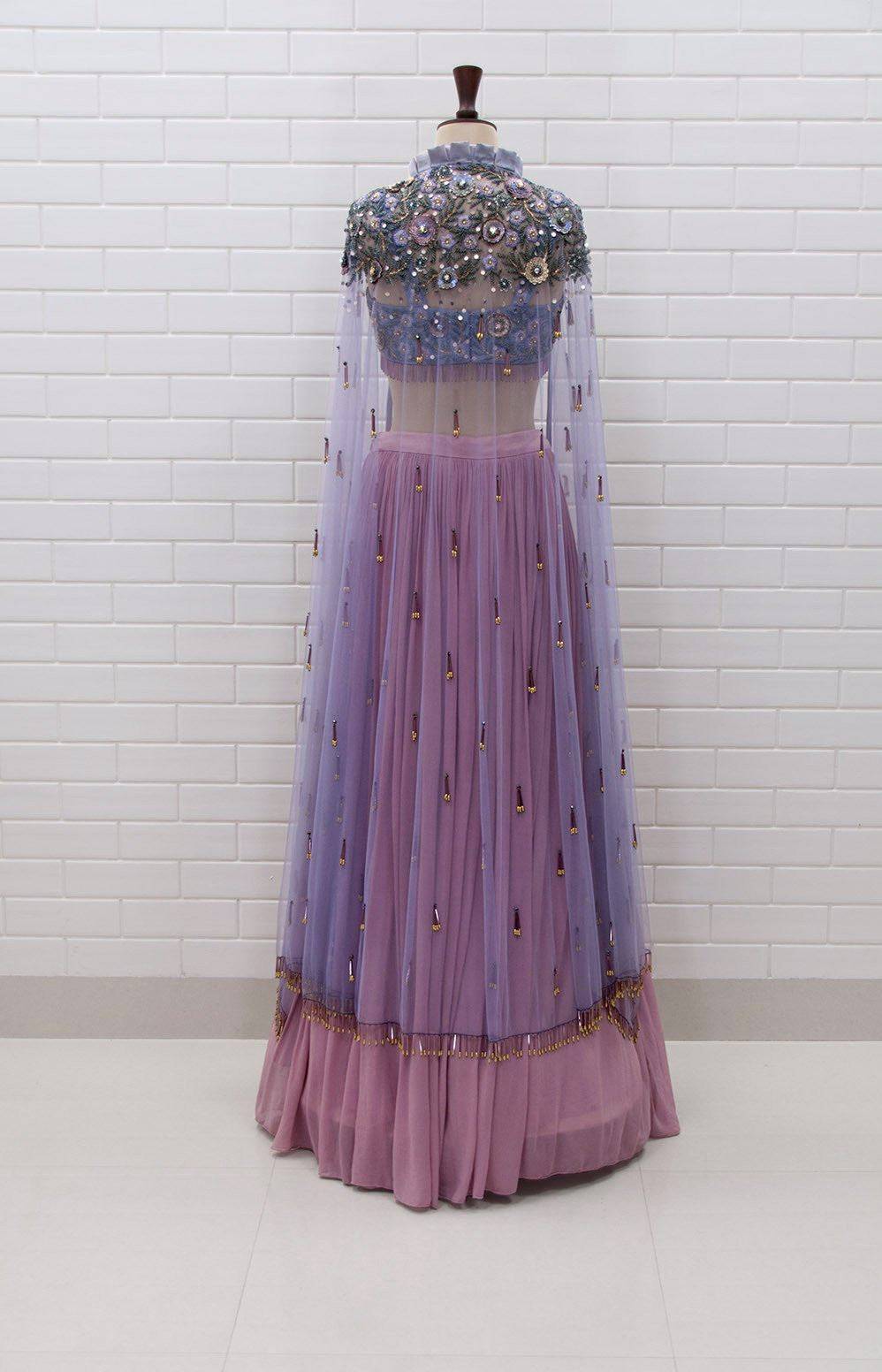 BELLAROSA : Box collar Shoulder Jacket & Blouse in Floral Sequins and Beads embroidery with pleated Lehenga