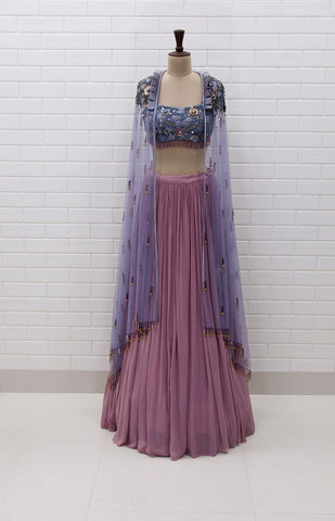 MIA : Orchid Haze Kundan Drape sleeveless Top with box pleated collar and Lehenga