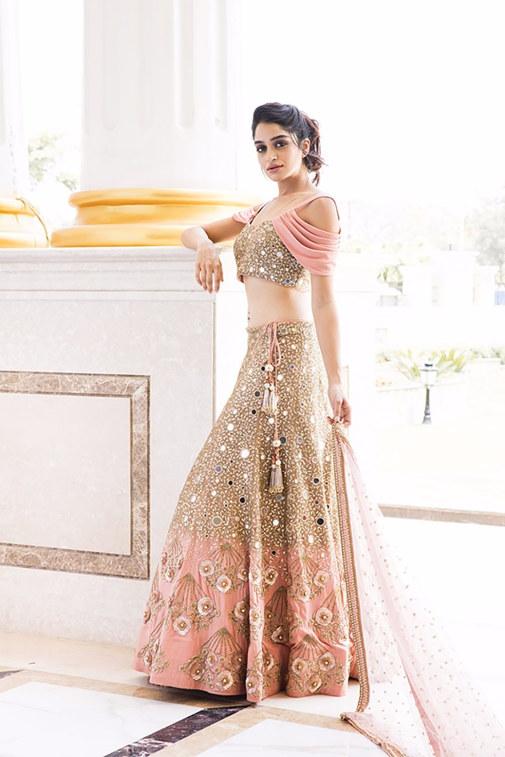 ISABELLA : Canyon Clay Drape Sleeves with Jaal embroidery Blouse and Lehenga