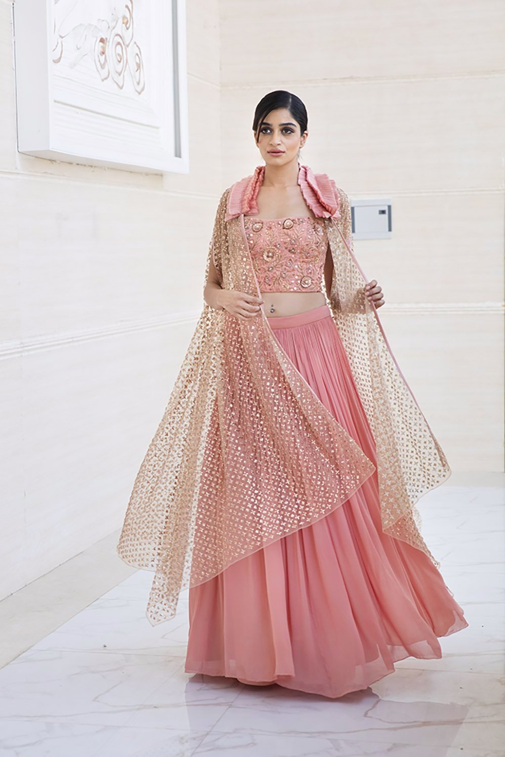 1f0ec9e60c319d CLARISSA : Canyon Clay Ruffled Jacket with blouse and lehenga – Yoshita