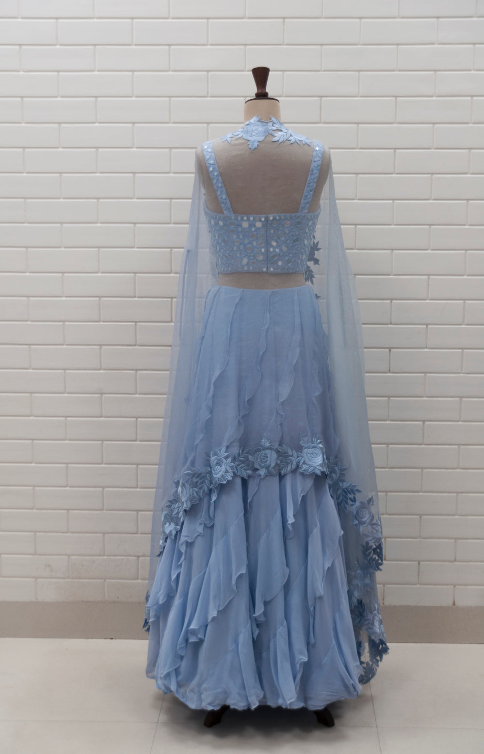 CHLORIS - Ice Blue Mirror Hand-embroidered Corset & Ruffle Lehenga