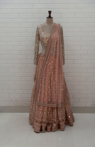 ARISTA - Rose Gold Chikankari Mirror Work Lehenga