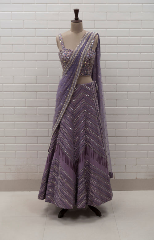 LILY - Lilac Zig Zag Lehenga, Densely Embroidered Corset Blouse & Tulle Dupatta