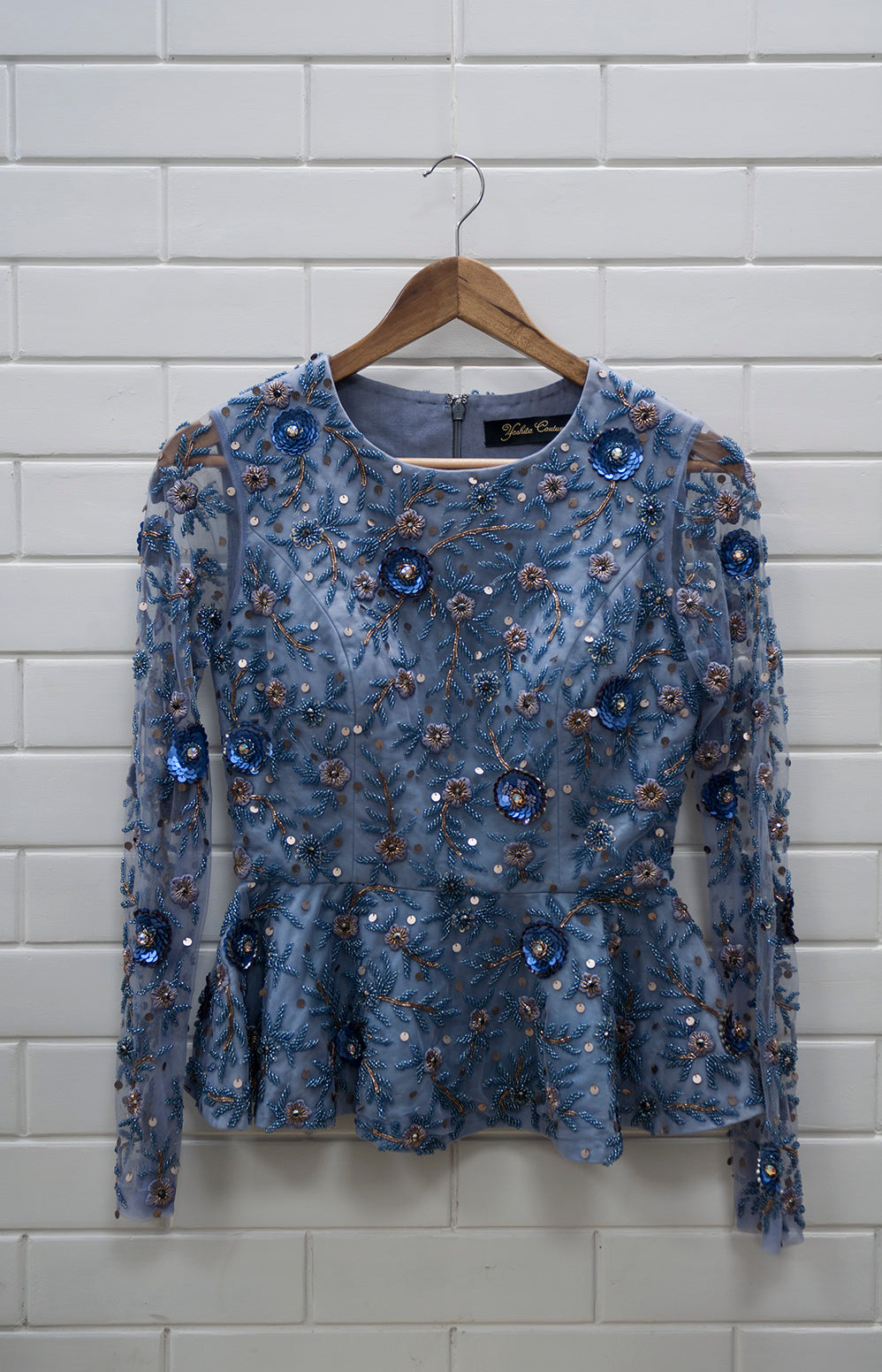 YC - Indigo Floral Full-sleeves Top