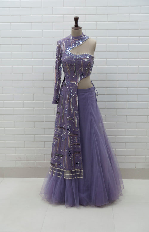 ZAREEN2 - Violet Cut Out Geometric Jacket & Pleated Lehenga