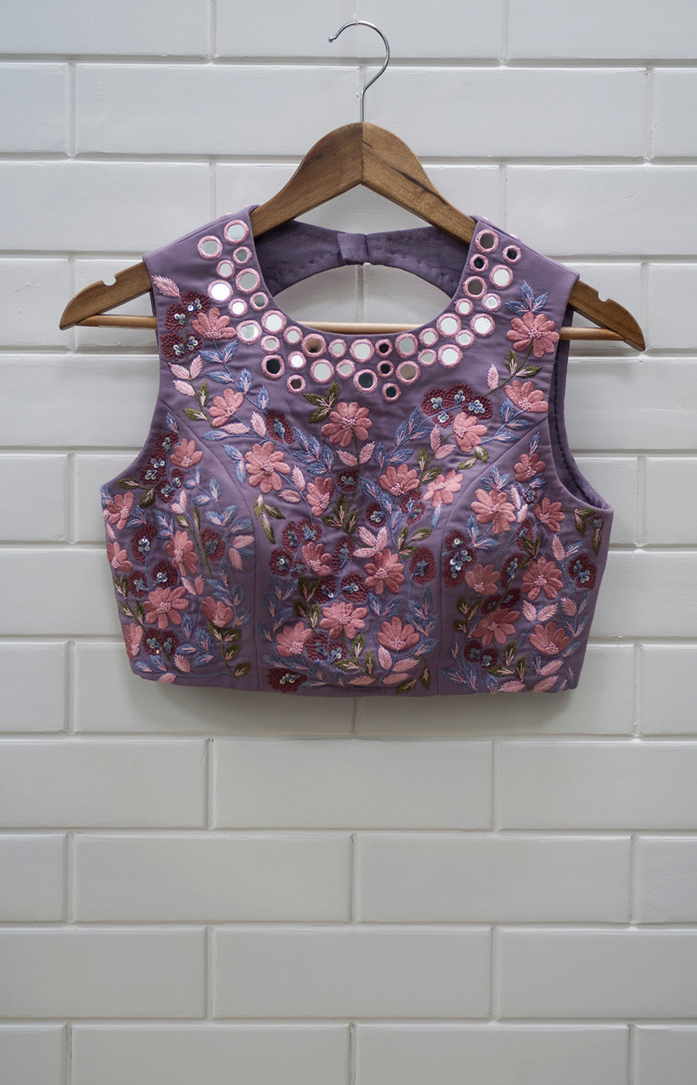 YC - Violet & Pink Floral Sleeveless Blouse