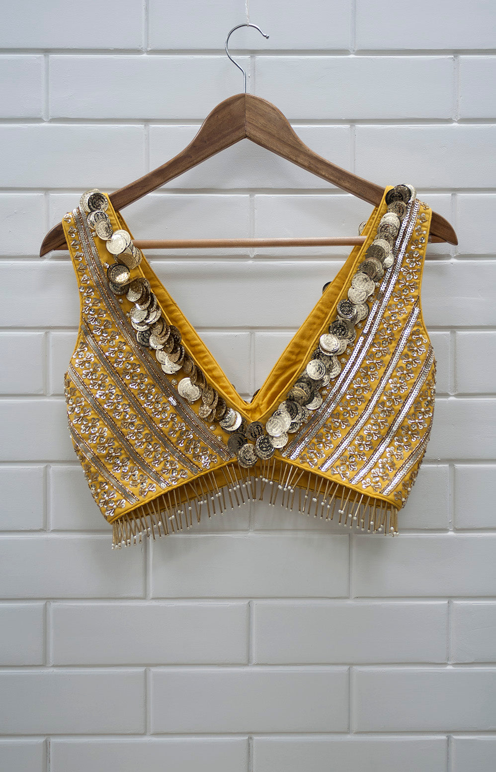 YC - Deep Neck Yellow & Gold Sleeveless Blouse