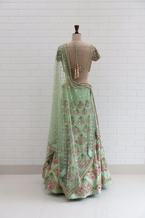 POESIA : Mint Green Jaal embroidery Blouse and Lehenga