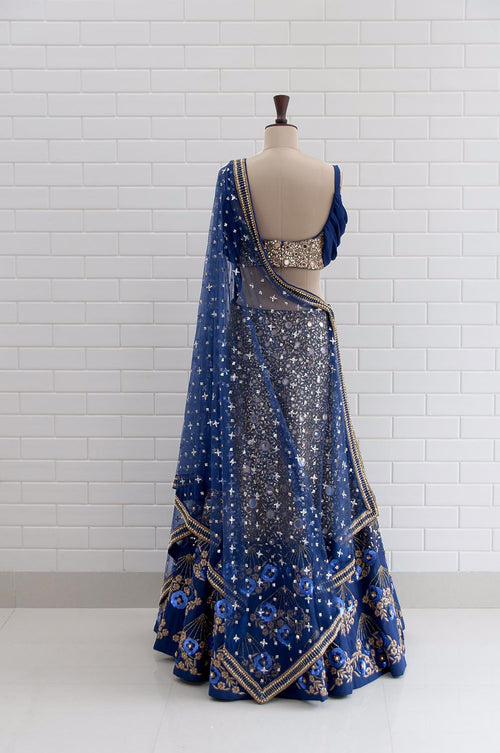 ALESSANDRA : Midnight Blue Drape Sleeves with Jaal embroidery Blouse and Lehenga