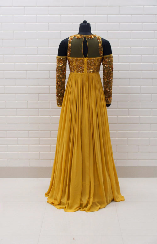 AIDA : Full sleeves cold shoulder anarkali with floral sequins & beads embroidery and dupatta