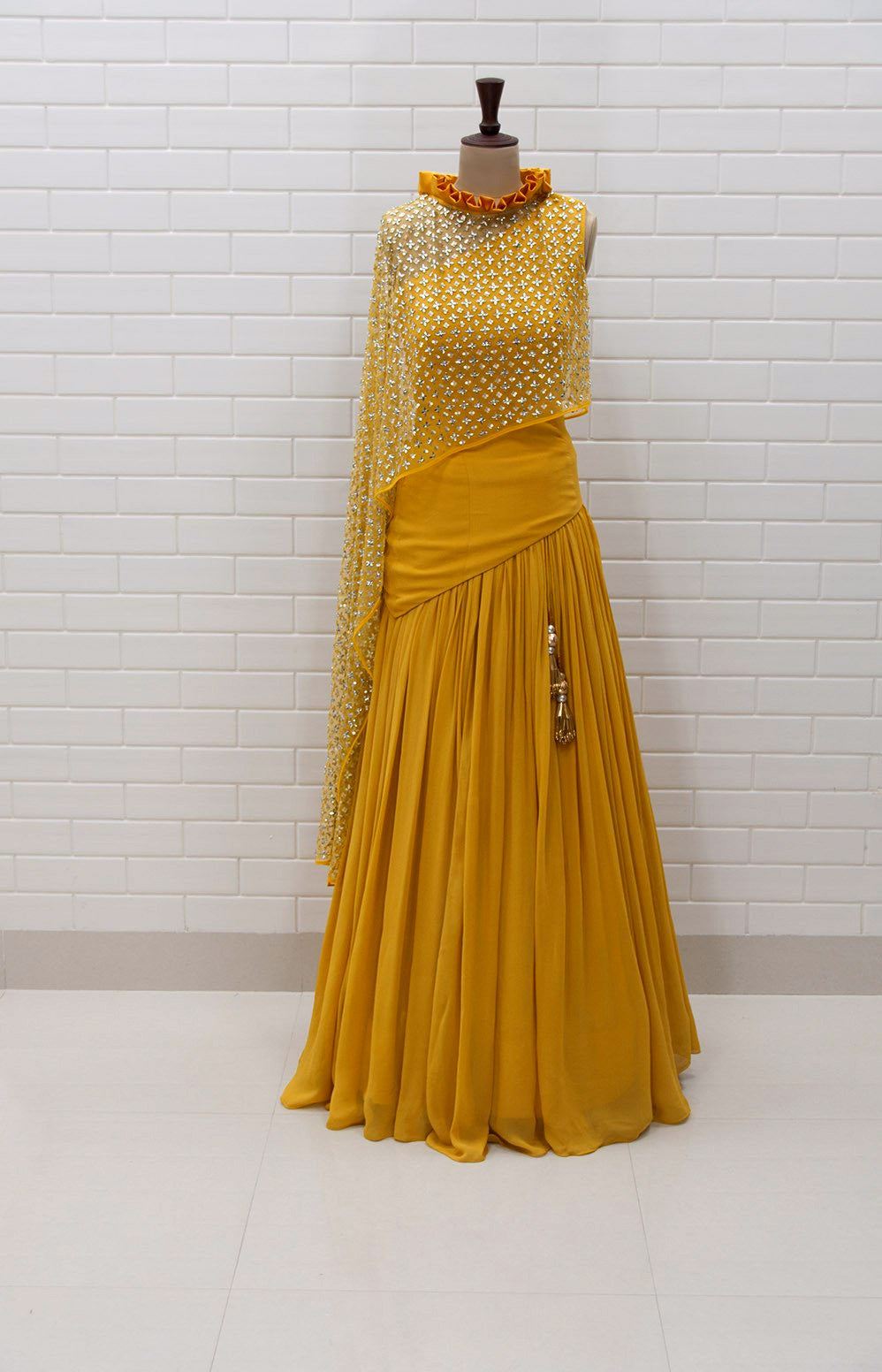 ab0ba07dc3d593 ABRIANA : Spicy Mustard Kundan Drape sleeveless Top with box pleated collar  and Lehenga