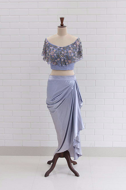 CARINA : Lilac Grey Off Shoulder flaired blouse in Floral Sequins and Beads embroidery with Satin Dhoti