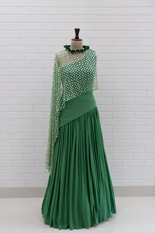 d7494ca0e5e063 MARQUESA : Lush Meadow Box Pleat Collar Top and Lehenga – Yoshita