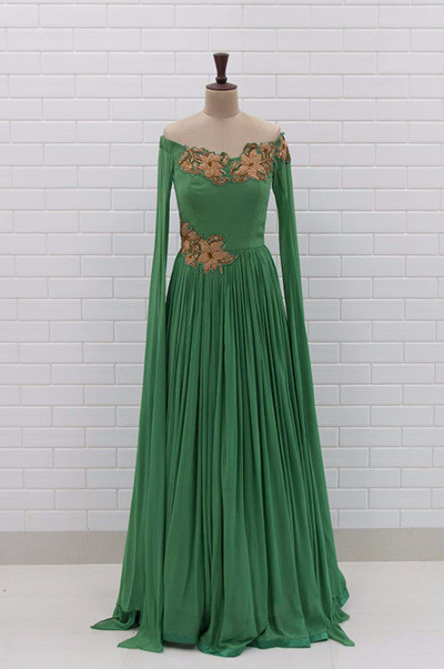 GRAZIANA : Lush Meadow Drape gown with Zardosi patchwork