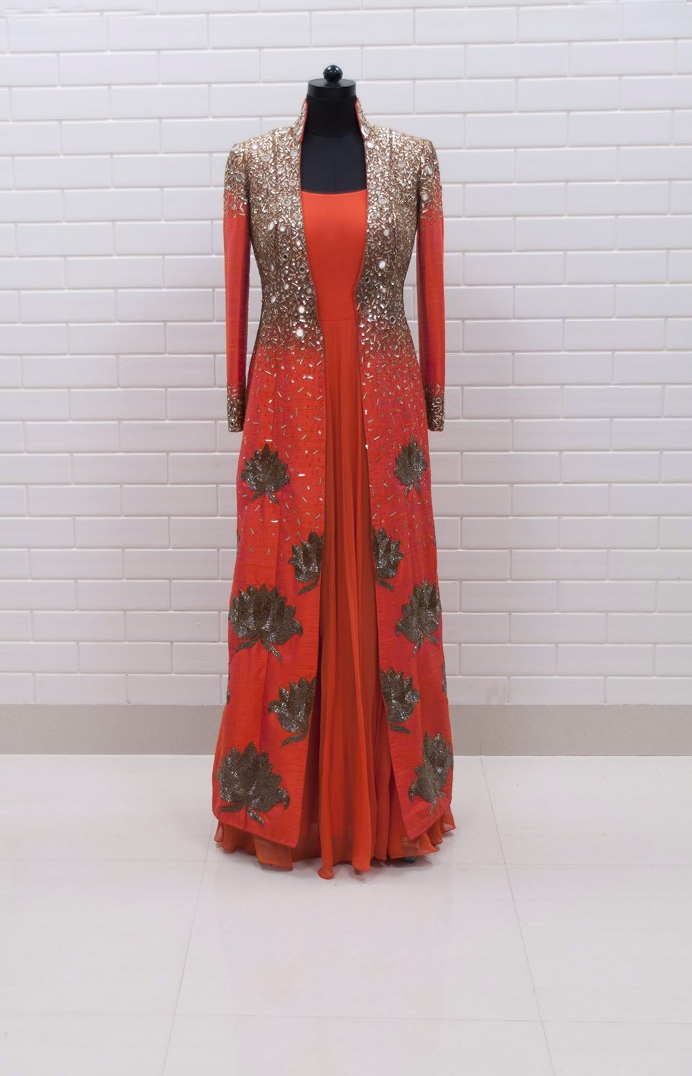 Orange Lotus Motif Jacket with Anarkali