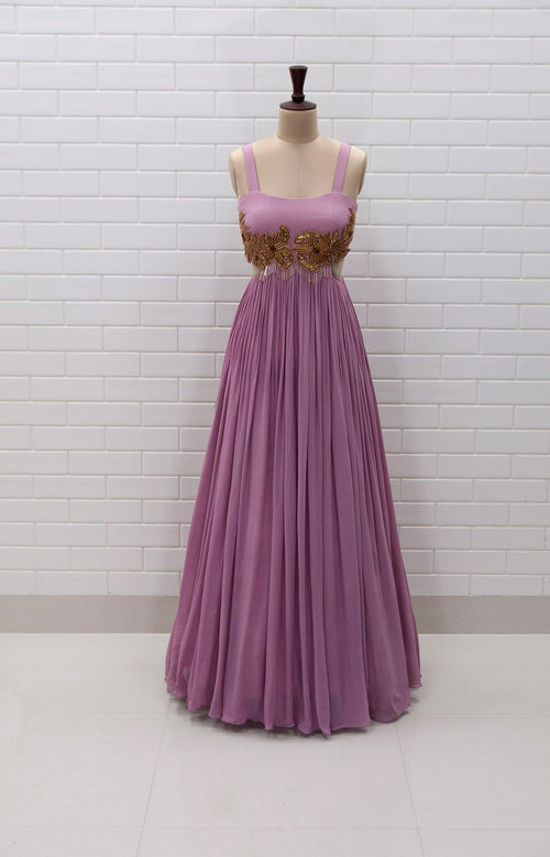FRANCESCA : Orchid Haze Sleeveless Waist cut-out Gown with Zardozi embroidery