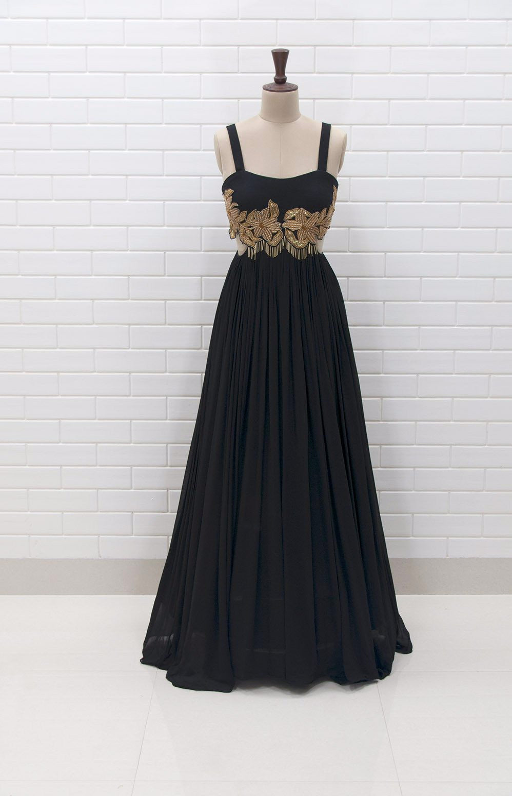 MARIELLA : Black Sleeveless Waist cut-out Gown with Zardozi ...