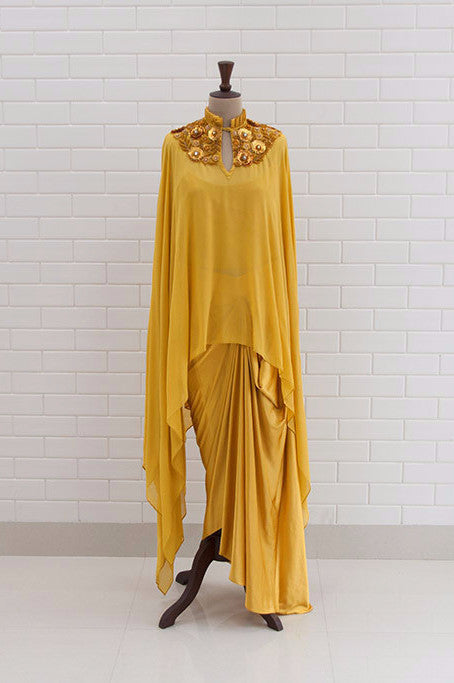 ARIA : Spicy Mustard Embroidered Kaftan With Satin Dhoti