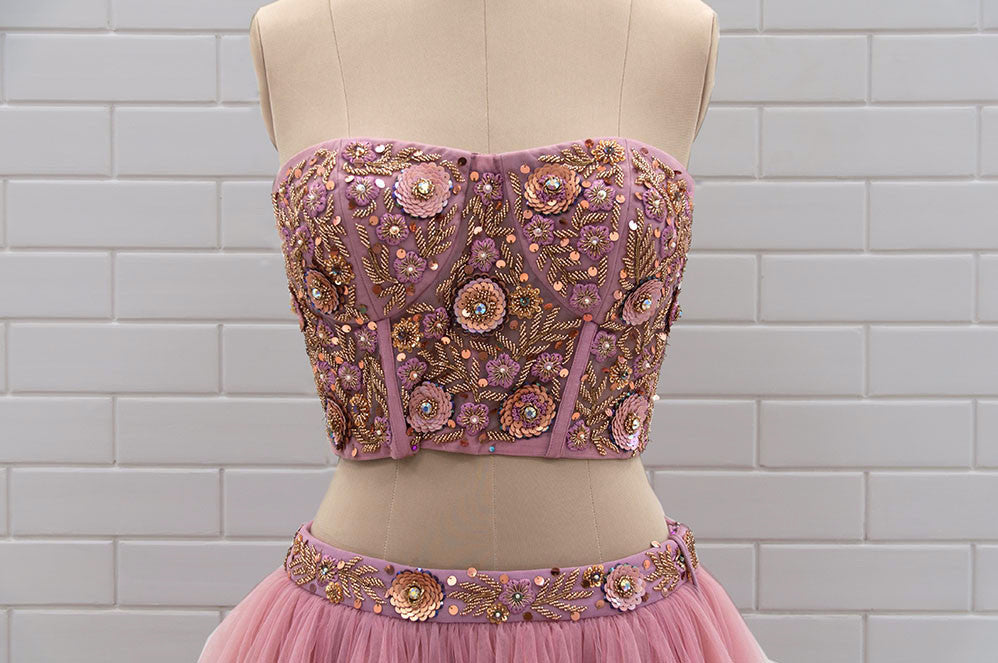 ROSARIA : Orchid Haze Tulle Corset with Floral Sequins and Beads embroidery & Net triple ruffle skirt