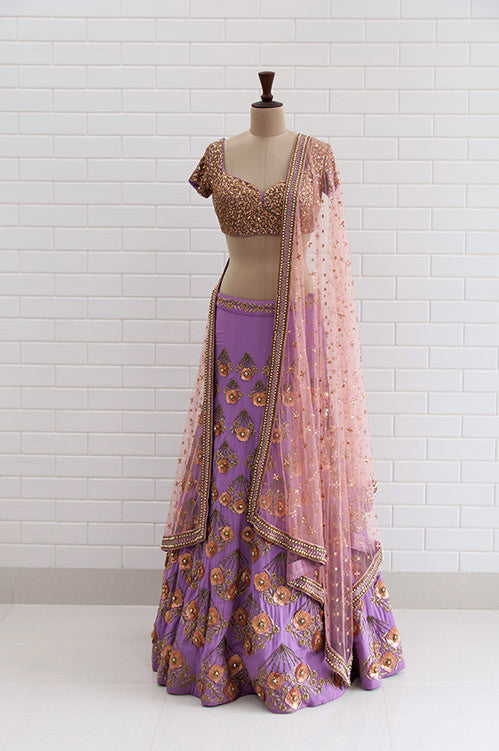 04589d3ffad481 GIULIETTA : Violet Tulle floral zardozi handfans embroidered lehenga with  Jaal work choli blouse and dupatta