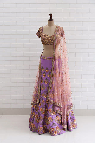 SABRINA : Full Sleeves pleated Waist cut-out Gown with Zardozi embroidery