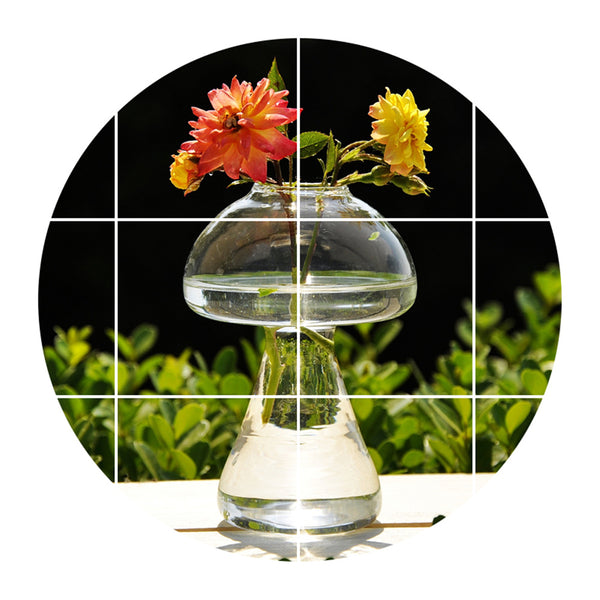 Home Gardencraft Corner Glass Vase Mushroom Shaped Terrarium Vase