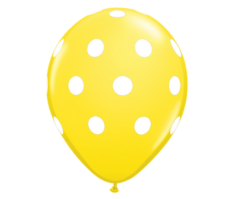 "Yellow Polka Dots 12"" Balloon"