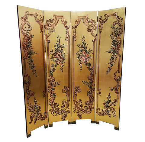 Gold Floral Motif Dressing Screen