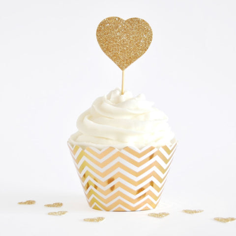 Gold Chevron Cupcake Wrapper