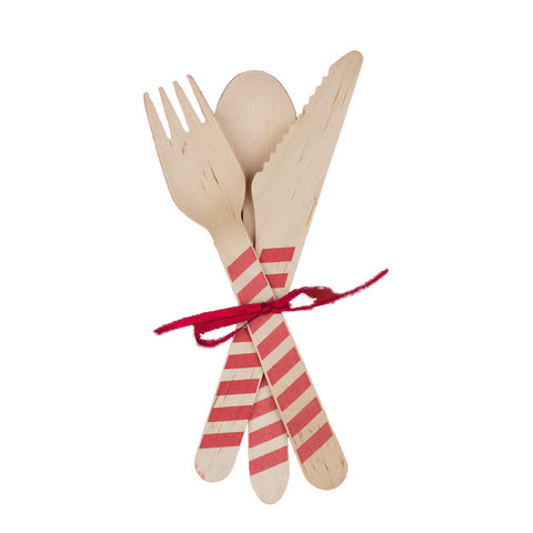 Red Spoon Wooden Cutlery