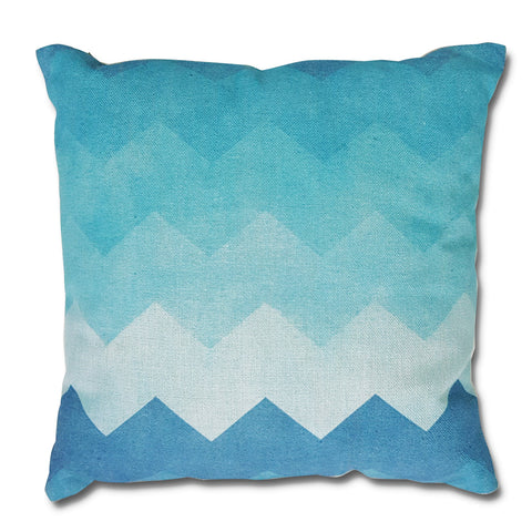 Blue Chevron Canvas Pillow