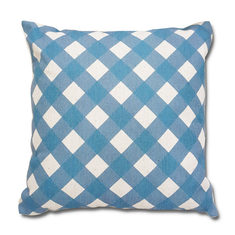Blue Gingham Canvas Pillow