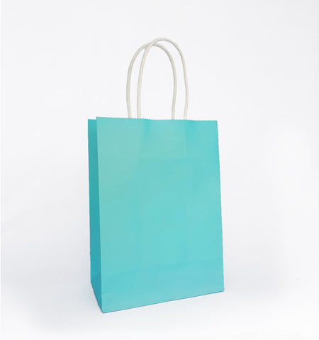 Plain Caribbean Blue Paper Bag