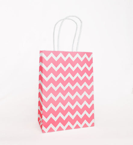 Salmon Pink Chevron Paper Bag