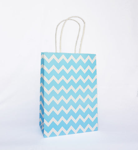 Blue Chevron Paper Bag