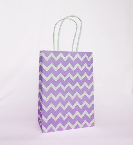 Purple Chevron Paper Bag