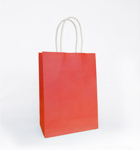 Plain Coral Red Paper Bag