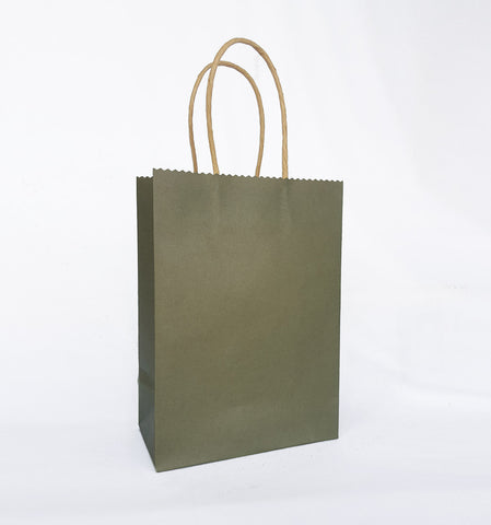 Plain Olive Green Paper Bag