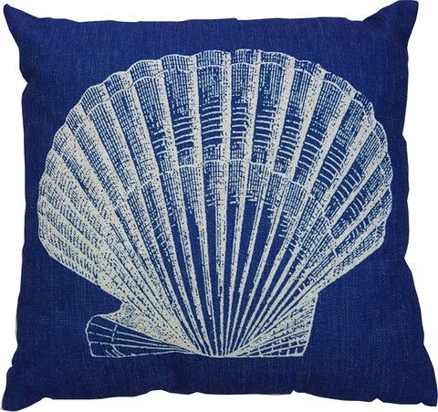 Navy Seashell Pillow