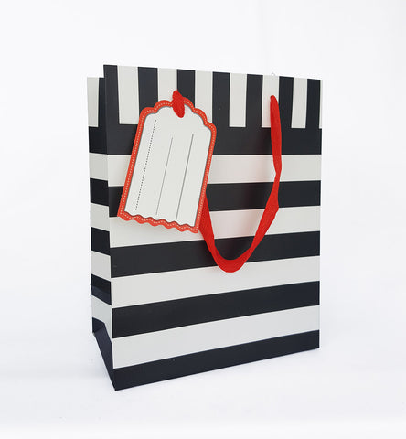 Black Horizontal Line Paper Bag