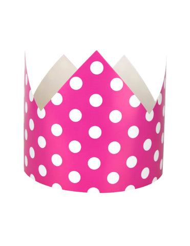 Fuchsia Polka Dots Party Crown
