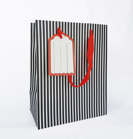 Black Vertical Line Paper Bag