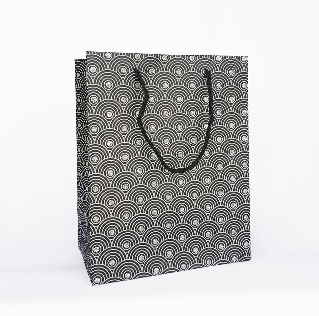 black silver waves paper bag marble co