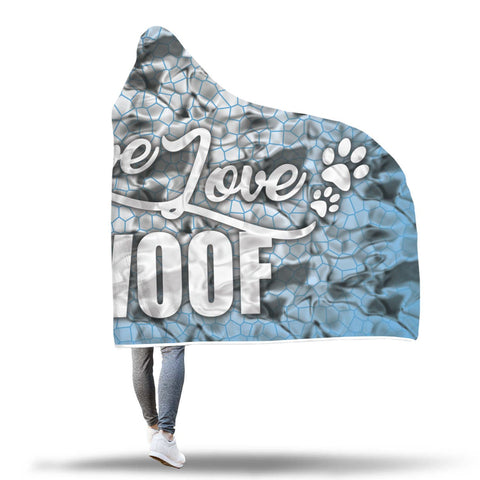 Live Love Woof Hooded Blanket Design 3