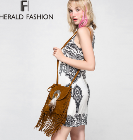 Womens Festival Leather Tassel Shoulder Bag