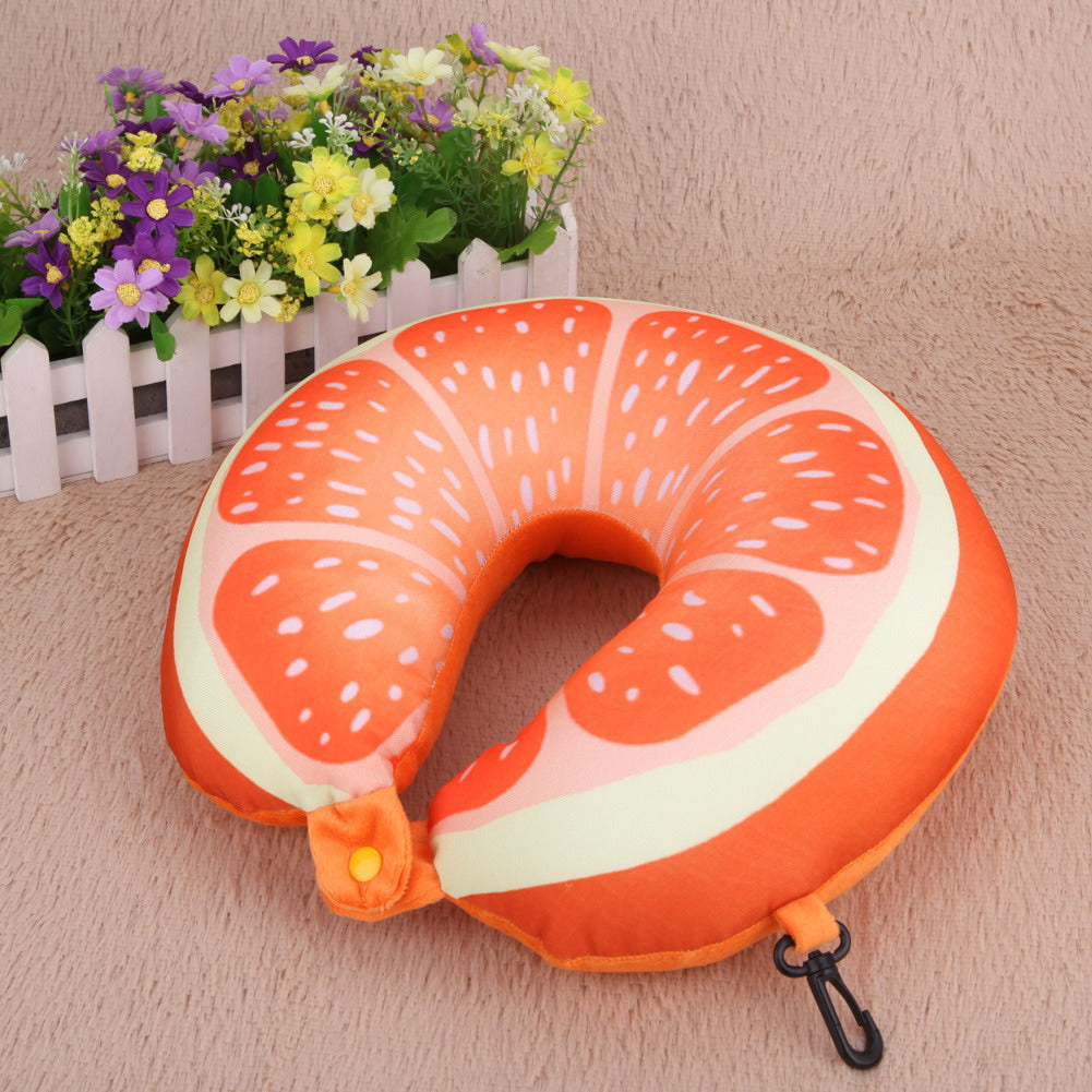 Fruit U Shaped Travel Pillow Nanoparticles Neck Pillow Watermelon Lemon Kiwi Orange Car U-pillows Soft Cushion Home Textile Bbq