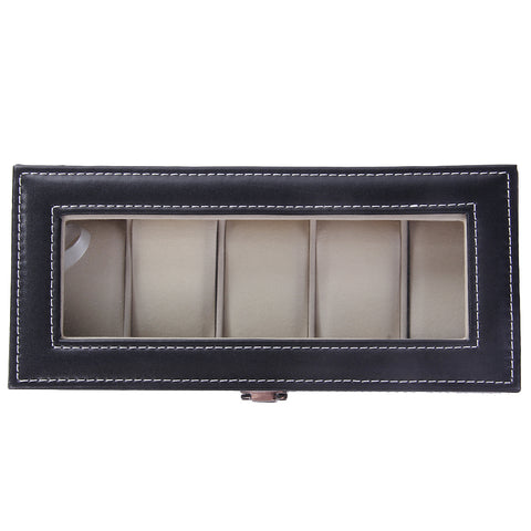 Leather 5 Grid Luxury Watches Display Case Box