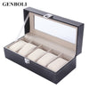 Image of Leather 5 Grid Luxury Watches Display Case Box